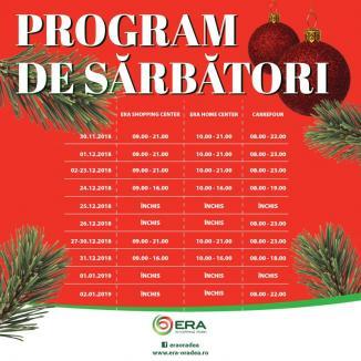 ERA Park Oradea vă urează sărbători fericite. Vezi aici programul centrului comercial!