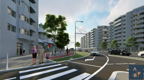 Cum va arăta artera Nufărul – Centrul Civic: Linii de tramvai înierbate, străjuite de arbori înalţi, stâlpi de iluminat cu senzori şi camere de supraveghere (FOTO)