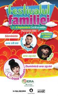 Festival fără precedent, la ERA Park Oradea: O mulţime de activităţi, dar şi concerte Irina Rimes, Dorian Popa şi Spike, la Festivalul Familiei