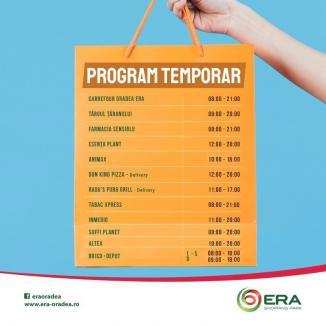 Program de funcţionare provizoriu ERA Park Oradea. Vezi noile modificări!