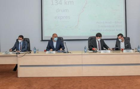 Bolojan, Birta şi omologii arădeni au semnat asocierea pentru Drumul Expres Oradea-Arad