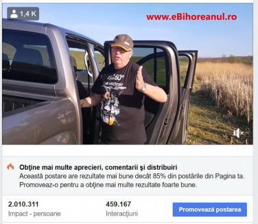 'Eroul zilei': Preşedintele CJ Bihor, Pasztor Sandor, a câştigat o popularitate de (ne)invidiat prin isprava de la pescuit.Peste 1,5 milioane de vizualizări într-o singură zi (VIDEO)