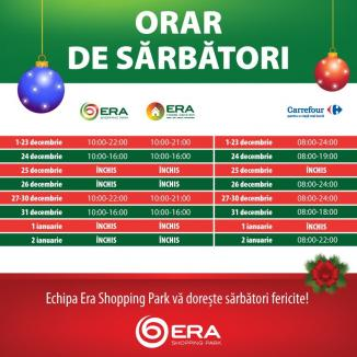 ERA Park deschide şi în Ajun de Crăciun şi de Revelion. Vezi aici programul de sărbători!
