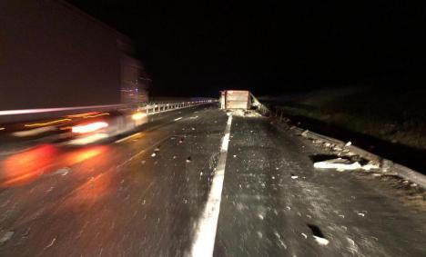 Răsturnare fatală: Un şofer de TIR din Sântandrei a murit într-un accident pe A1 (FOTO / VIDEO)