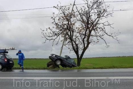Un Audi a smuls din pământ un stâlp de iluminat. Şoferul a scăpat teafăr, ca prin minune! (FOTO)
