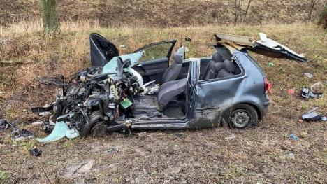 Accident pe DN 79, între Arad și Oradea: Un TIR și un VW Polo s-au lovit frontal (FOTO)