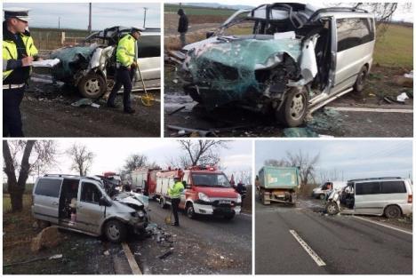 Accident grav pe DN 79, între Arad și Oradea. Un microbuz s-a izbit de un TIR, o persoană a murit