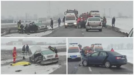 Accident grav pe DN 79, între Oradea şi Arad. O persoană a murit, Poliţia avertizează că drumul este acoperit cu polei