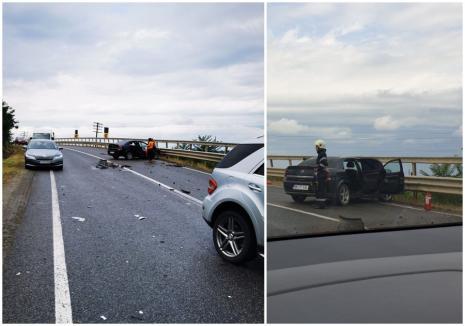 Accident pe DN19, în Bihor: Un camion şi un autoturism s-au izbit, o persoană a fost rănită (FOTO)