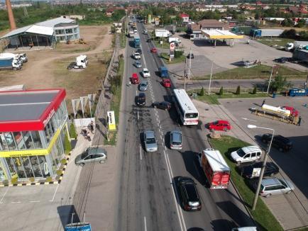 Filmare cu drona: tamponare pe strada Matei Corvin din Oradea (VIDEO)