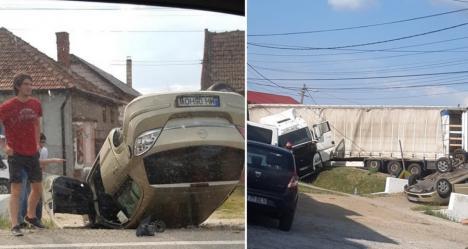 Cauzele accidentului produs între Oradea şi Salonta, unde un bolid a ajuns cu roţile-n sus. Greşeala făcută de şoferul de TIR