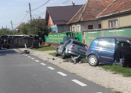 DN1, blocat în Săbolciu: Patru autovehicule s-au lovit, două persoane sunt rănite