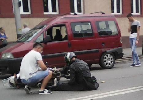 Accident la intersecţia bulevardului Cantemir cu strada Muntele Găina: Un motociclist a fost rănit (FOTO)