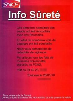 Afiş oficial în Franţa: 'Feriţi-vă de hoţii de bagaje români!'