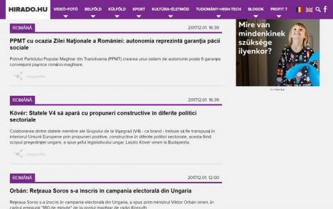 Agenţia oficială de ştiri din Ungaria a lansat un flux în limba română: Primele articole, despre 'reţeaua Soros' şi 'libertatea naţională pentru maghiari'