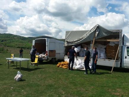 Primăria Vadu Crişului a distribuit romilor din colonia pusă în carantină alimente de peste 38.000 lei pentru o săptămână (FOTO)