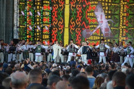 """Final spectaculos pentru centenarul Oradiei: Andra a cântat """"tradițional"""", soldaţii s-au retras cu torţe, iar artificiile au fost tricolore (FOTO / VIDEO)"""