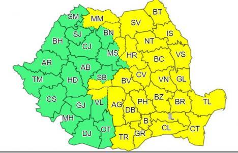 Primăvara e ca iarna: Jumătate din ţară este sub cod galben de ploi, polei şi rafale de vânt. Vremea se va răci accentuat