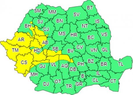 Cod galben de vânt puternic inclusiv în Bihor