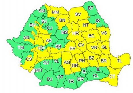 Cod galben de ploi și instabilitate atmosferică în aproape toată ţara. Este vizat şi judeţul Bihor!