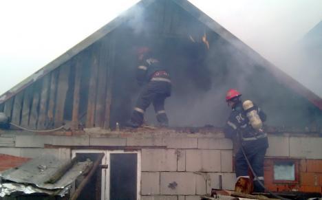 Incendiu nimicitor la o gospodărie din comuna Drăgăneşti: Un scurtcircuit a dus la distrugerea a 20 de tone de plante furajere