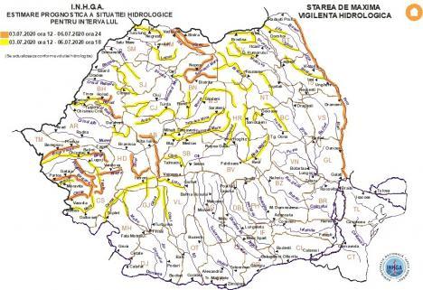 Noi avertizări hidrologice în Bihor: Cod portocaliu și cod galben până luni seară