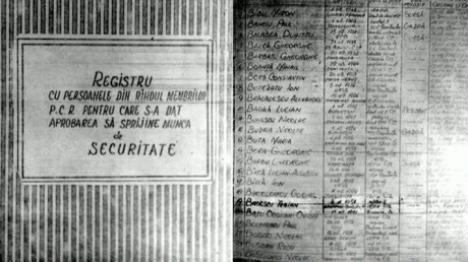 Numele lui Băsescu, într-un registru cu membrii PCR care sprijineau Securitatea