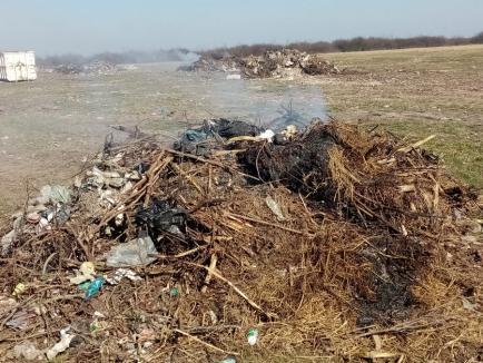 """O nouă amendă de 100.000 de lei pentru o comună din Bihor, după ce angajaţii primăriei au dat foc la gunoaie. Primarul: """"Nu am ce să fac cu ele"""" (FOTO)"""