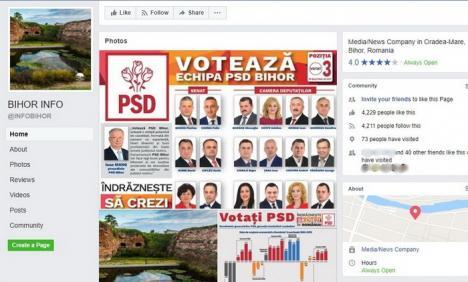 PSD incognito: PSD Bihor şi-a făcut pagină 'sub acoperire' pe Facebook