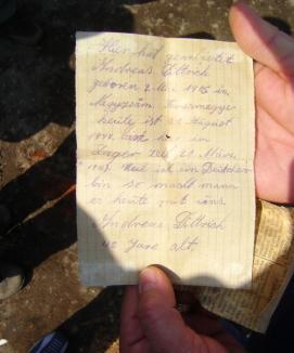 Scrisoarea unui deţinut închis în lagărul din Cetate, descoperită după 63 de ani