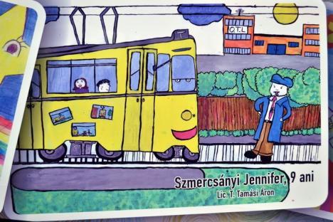 """De 1 iunie! """"Tramvaiul copiilor"""" a pornit pe traseu împodobit în desenele micuţilor orădeni (FOTO)"""