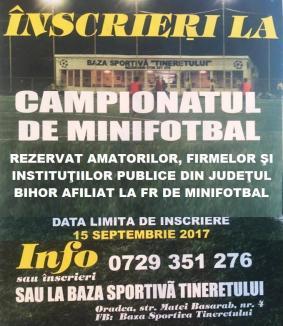 Baza Tineretului din Oradea: Înscrieri pentru noile campionate de minifotbal