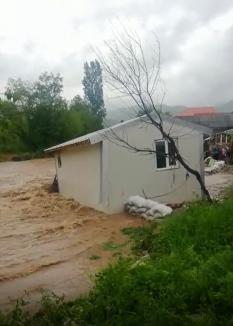 Casă luată de ape, în Bihor. Momentul, filmat de salvatori (VIDEO)