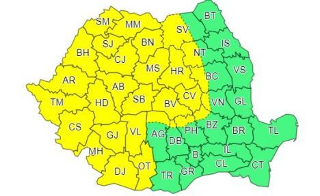 Avertizare meteo: Cod galben de vânt şi ploi în mare parte de ţară, inclusiv în judeţul Bihor