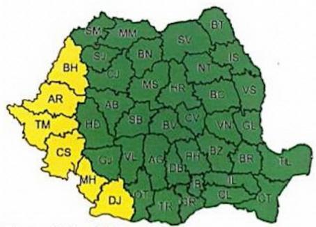Cod galben în Bihor: Descărcări electrice, vijelii, grindină şi averse