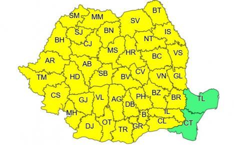 Judeţul Bihor, din nou sub cod galben: Averse torenţiale, descărcări electrice, vijelii, grindină