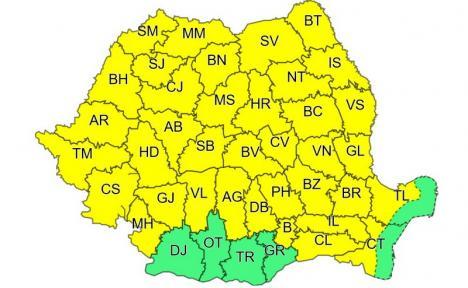 Cod galben de furtuni, miercuri, în Bihor