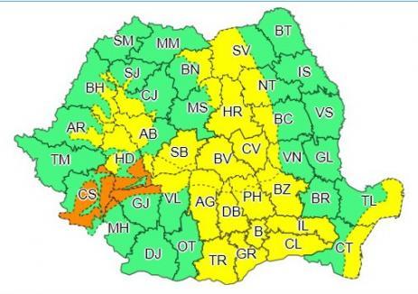 Cod galben de vânt în zona montană a judeţului Bihor până vineri dimineaţa