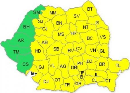 Cod galben de frig în aproape toată ţara