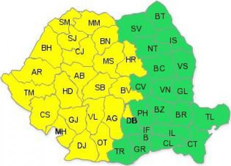 Cod galben de ploi în peste 20 de judeţe, inclusiv în Bihor
