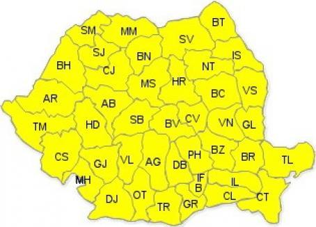 Cod galben de ploi şi vijelii în toată ţara