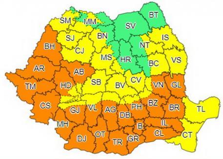Vreme extremă: Avertizare de caniculă, dar şi de vijelii în mare parte din ţară, inclusiv în Bihor