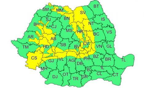 Cod galben de vânt până joi, în zonele montane ale judeţului Bihor