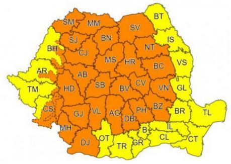 Vine vremea rea: Cod galben în Bihor, cod portocaliu în zona de munte a judeţului