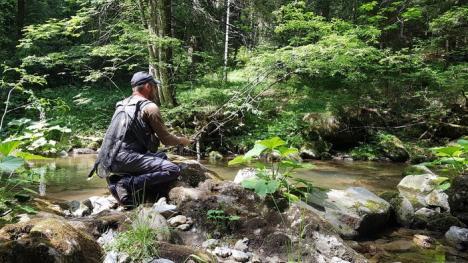 Concurs de pescuit, pe Valea Iadului: Un orădean a avut cea mai mare captură, un păstrăv de 29,1 cm (FOTO)