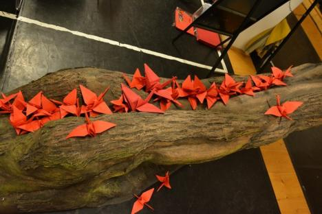 Conferinţă inedită: Jurnaliştii au făcut origami alături de dansatori, actori şi voluntari ai Teatrului Szigligeti pentru premiera 'Pasărea nimănui' (FOTO/VIDEO)