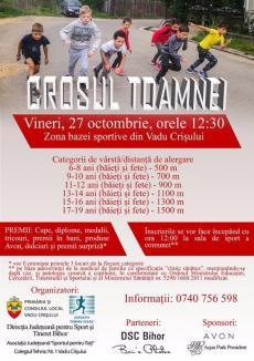 Tinerii bihoreni, invitaţi să alerge vineri la Crosul Toamnei de la Vadu Crişului