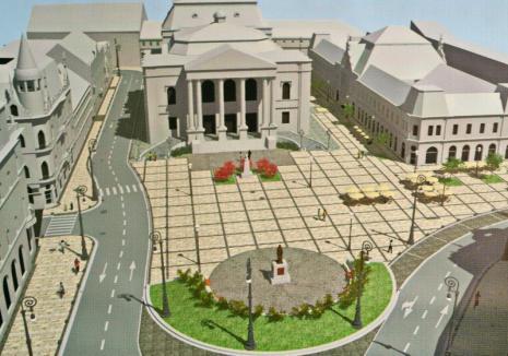 Se mută tisele! APM Bihor a aprobat proiectul de reabilitare a Pieţei Ferdinand, cu tot cu relocarea arborilor din faţa Teatrului