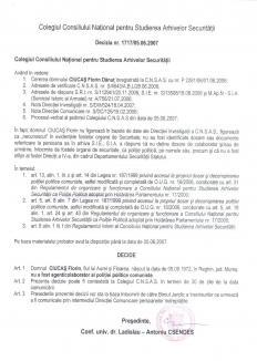 Decizie CNSAS Ciucaş Florin Dănuţ