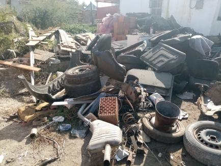 """Trei depozite ilegale de rable, depistate de comisarii de mediu în Bihor. Un """"afacerist"""" ardea banchetele din maşini la marginea unei păduri (FOTO)"""